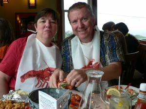 Enjoying some Maine Lobster in York, Maine